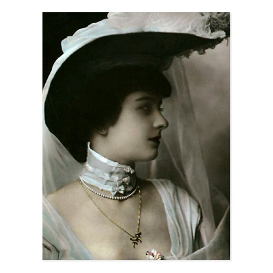Feather Hat and Lace Choker Postcard
