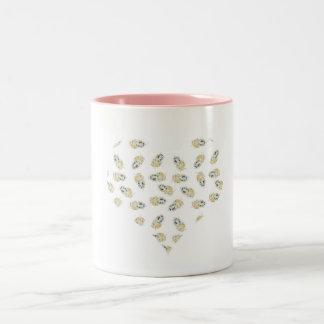 feather hearts watercolour design Two-Tone coffee mug