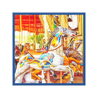 Feather Horse Carousel merry-go-round Canvas Print