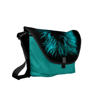 Feather in turquoise courier bag