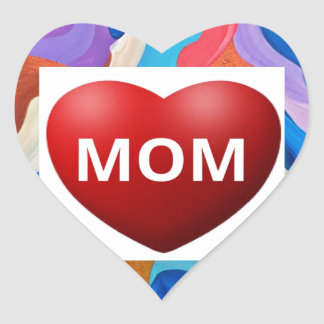 Feather Love Mom Heart Sticker