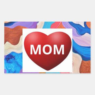 Feather Love Mom Rectangular Sticker