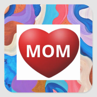 Feather Love Mom Square Sticker