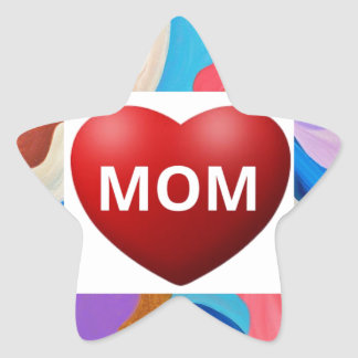 Feather Love Mom Star Sticker