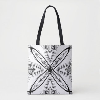 Feather Mandala Hand Drawn Black White Doodle Tote Bag