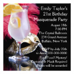 Feather Mask 21st Birthday Party Personalized Announcements