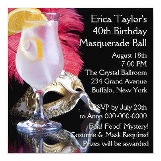 Feather Mask 40th Birthday Masquerade Party Card