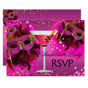 feather mask masquerade bachelorette rsvp invitation