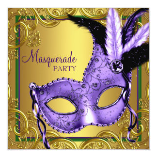 Feather Mask Purple and Gold Masquerade Party Personalized Announcement