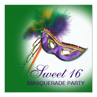 Feather Mask Purple Sweet 16 Masquerade Party Personalized Invitation