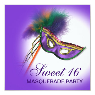 Feather Mask Purple Sweet 16 Masquerade Party Custom Invites