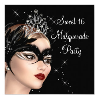 Feather Mask Tiara Sweet 16 Masquerade Party Custom Announcement