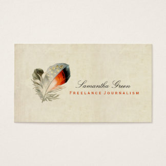 Feather Orange Distressed Vintage Business Card
