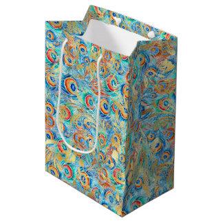 Feather peacock medium gift bag