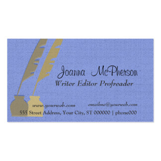 Feather Pen - Blue and Gold Double-Sided Standard Business Cards (Pack Of 100)
