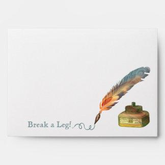 Feather Pen Break a Leg Envelope