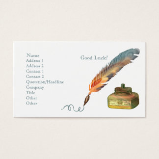 Feather Pen Good Luck Business Card