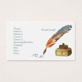 Feather Pen Good Luck Business Card
