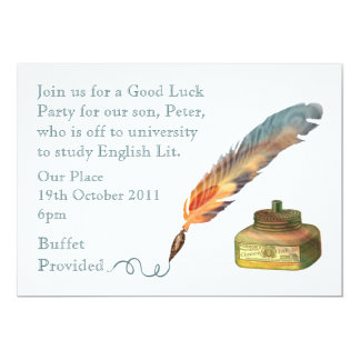 Feather Pen Good Luck Card