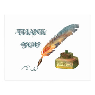 Feather Pen Thank You Postcard