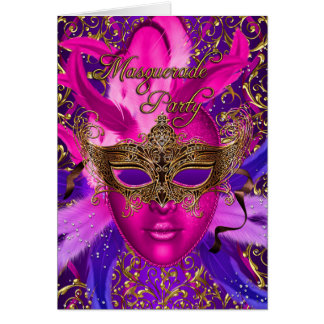 Feather Pink & Gold Mask Masquerade Party Card