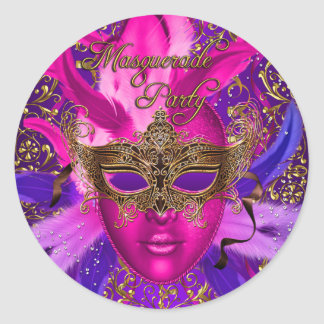 Feather Pink & Gold Mask Masquerade Party Sticker