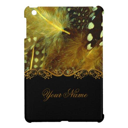 Feather  Print Black Gold Swirl Case For The iPad Mini