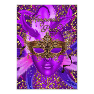 Feather Purple & Gold Mask Masquerade Party Invite