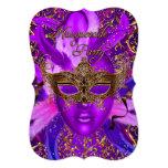 """Feather Purple & Gold Mask Masquerade Party Invite 5"""" X 7"""" Invitation Card"""
