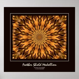 Feather Shield Medallion Dark Brown Border Poster