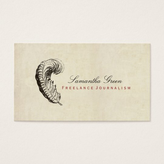 Feather Simple Distressed Vintage Business Card