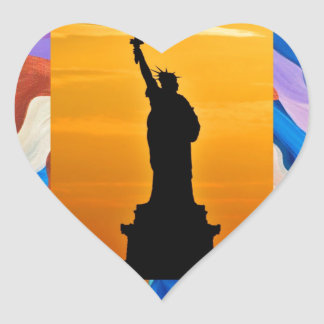 Feather Statue Of Liberty Heart Sticker