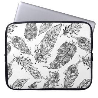 Feather Swirl Doodle Laptop Computer Sleeve