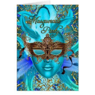 Feather Teal Gold Mask Masquerade Party Card