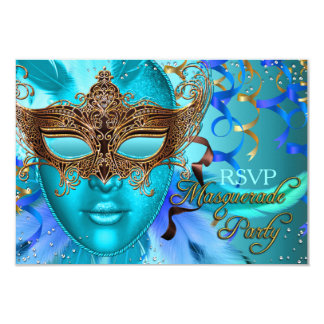 Feather Teal Gold Mask Masquerade Party RSVP Card