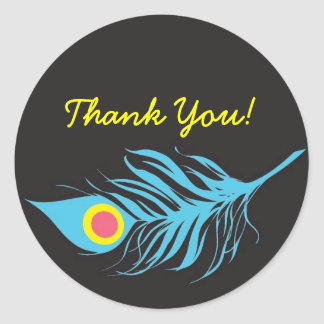 Feather, Thank You! Round Stickers