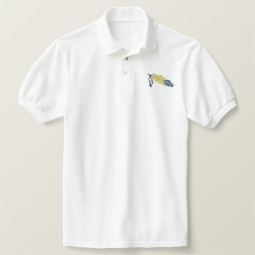 Feather with beads embroidered polo shirt