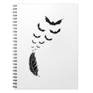 Feather with flying bats notebook