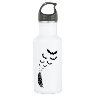 Feather with flying bats water bottle