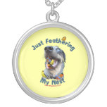 Feather Your Nest Bird Dog Round Pendant Necklace