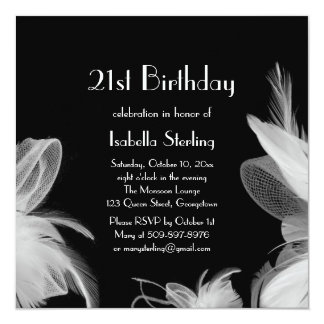 Feathered 1920's Birthday Invitations