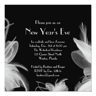 Feathered 1920's New Year's Party Invitation