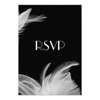 Feathered 1920's RSVP 3.5x5 Paper Invitation Card