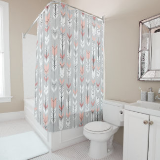 Feathered Arrows Ethnic Pink And Grey Shower Curtain
