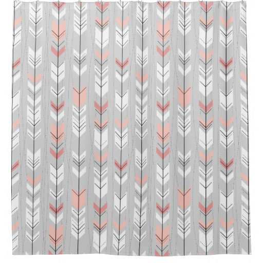 Feathered Arrows Ethnic Pink And Grey Shower Curtain Zazzle