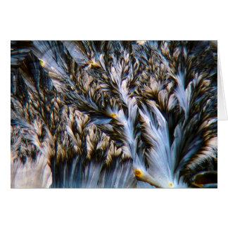 feathered crystals, paracetamol under a microscope card