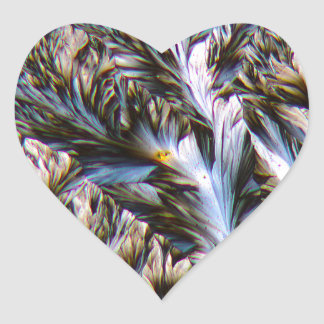 feathered crystals, paracetamol under a microscope heart sticker