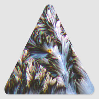 feathered crystals, paracetamol under a microscope triangle sticker
