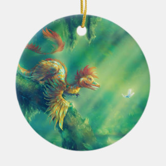 Feathered Dinosaur Microraptor Ceramic Ornament