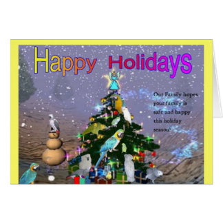 Feathered Family Holiday Greetings Greeting Card